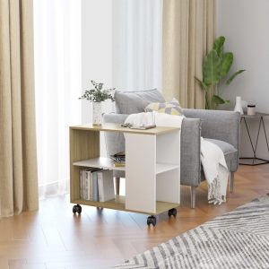 vidaXL Side Table White and Sonoma Oak 70x35x55 cm Chipboard