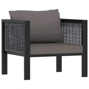 vidaXL Sectional Sofa with Cushion Poly Rattan Anthracite