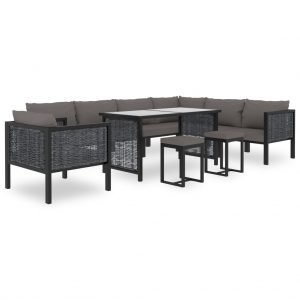 vidaXL 10 Piece Garden Lounge Set with Cushions Poly Rattan Anthracite