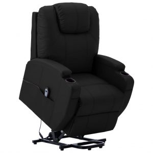 vidaXL Stand-up Recliner Black Faux Leather