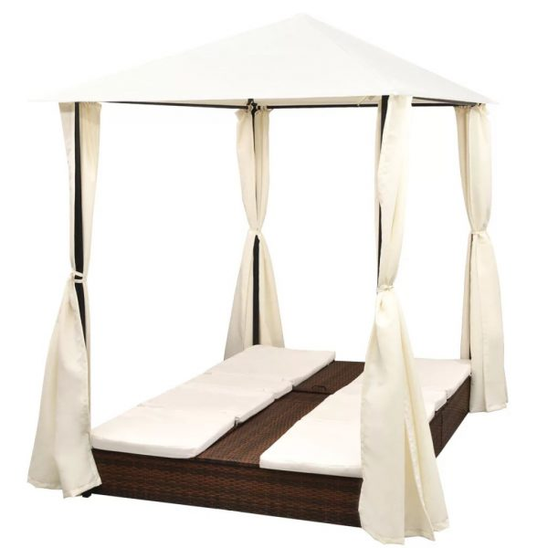 Double Sun Lounger with Curtains Poly Rattan Brown
