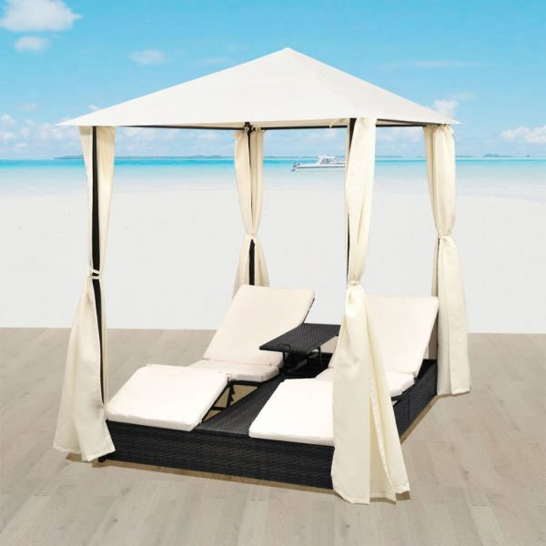 vidaXL Double Sun Lounger with Curtains Poly Rattan Black