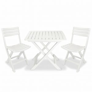 vidaXL 3 Piece Folding Bistro Set Plastic White