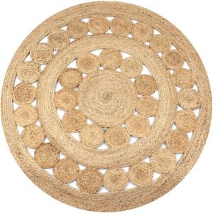 vidaXL Area Rug Braided Design Jute 150 cm Round
