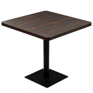 vidaXL Bistro Table MDF and Steel Square 80x80x75 cm Dark Ash