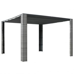 vidaXL Gazebo with Roof Poly Rattan 300x300x200 cm Grey and Anthracite