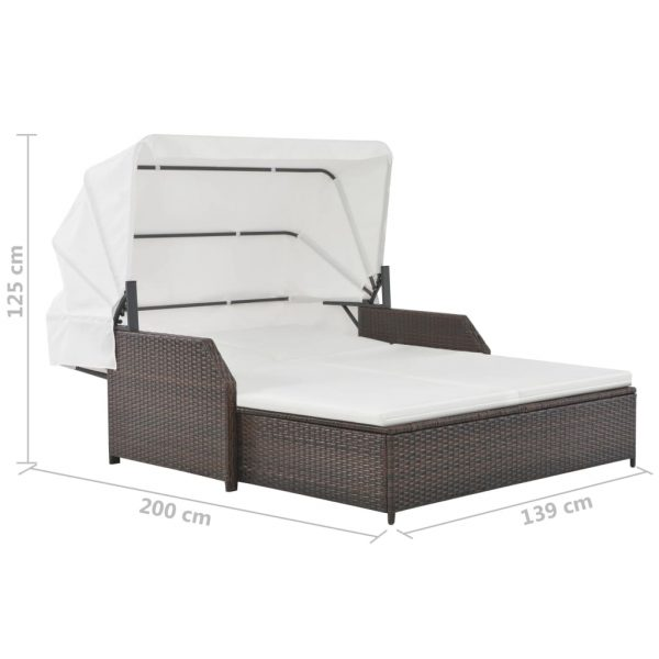 vidaXL 2-Person Sun Lounger with Canopy Poly Rattan Brown