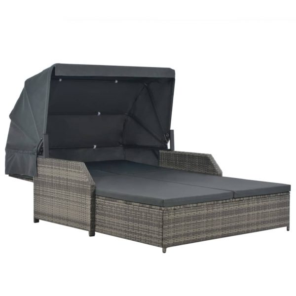 2-Person Sun Lounger with Canopy Poly Rattan Grey
