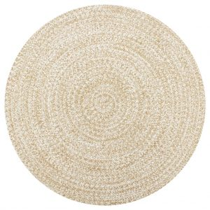 vidaXL Handmade Rug Jute White and Natural 120 cm
