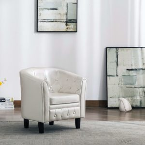 vidaXL Tub Chair White Faux Leather