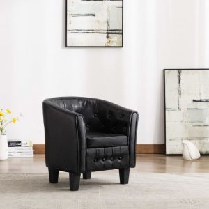 vidaXL Tub Chair Black Faux Leather