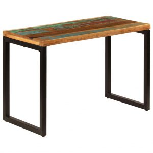 vidaXL Dining Table 115x55x76 cm Solid Reclaimed Wood and Steel