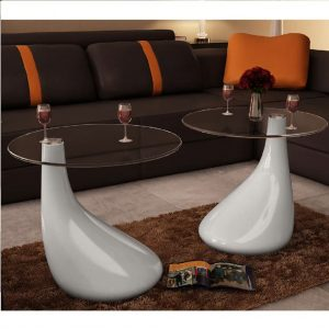 vidaXL Coffee Table 2 pcs with Round Glass Top High Gloss White
