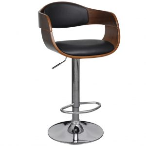 vidaXL Bar Stool Bent Wood and Faux Leather