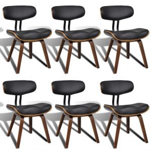 vidaXL Dining Chairs 6 pcs Bent Wood and Faux Leather