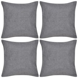 vidaXL 4 Anthracite Cushion Covers Linen-look 50 x 50 cm