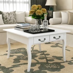 vidaXL Coffee Table with 4 Drawers White
