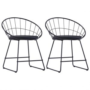 vidaXL Dining Chairs with Faux Leather Seats 2 pcs Black Steel