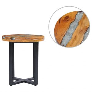 vidaXL Coffee Table 40×45 cm Solid Teak Wood and Polyresin