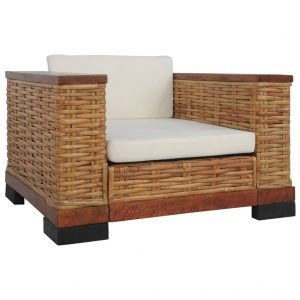 vidaXL Armchair with Cushions Brown Natural Rattan