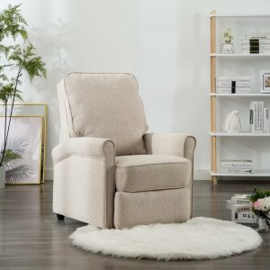vidaXL TV Recliner Chair Cream Fabric