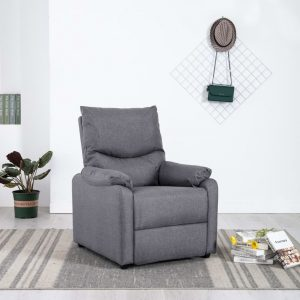vidaXL TV Recliner Light Grey Fabric