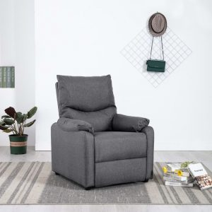 vidaXL TV Recliner Dark Grey Fabric
