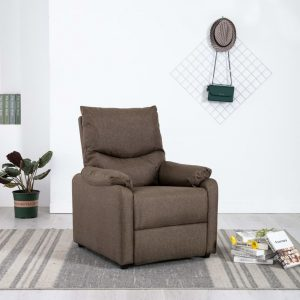 vidaXL TV Recliner Brown Fabric