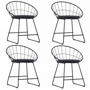 vidaXL Dining Chairs with Faux Leather Seats 4 pcs Black Steel
