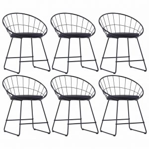 vidaXL Dining Chairs with Faux Leather Seats 6 pcs Black Steel