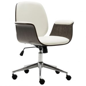 vidaXL Office Chair White Bent Wood and Faux Leather