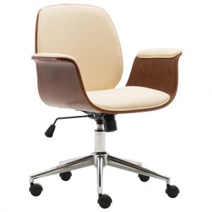 vidaXL Office Chair Cream Bent Wood and Faux Leather