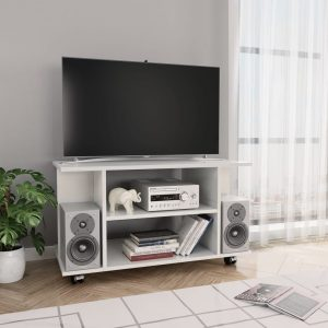 vidaXL TV Cabinet with Castors High Gloss White 80x40x40 cm Chipboard