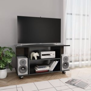 vidaXL TV Cabinet with Castors High Gloss Black 80x40x40 cm Chipboard