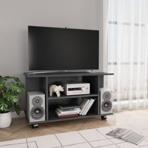 vidaXL TV Cabinet with Castors High Gloss Grey 80x40x40 cm Chipboard