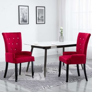 vidaXL Dining Chair with Armrests 2 pcs Red Velvet