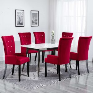 vidaXL Dining Chair with Armrests 6 pcs Red Velvet