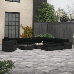 vidaXL 13 Piece Garden Lounge Set with Cushions Poly Rattan Black