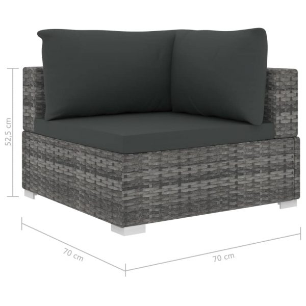 12 Piece Garden Lounge Set with Cushions Poly Rattan Grey