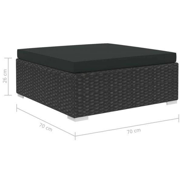 12 Piece Garden Lounge Set with Cushions Poly Rattan Black