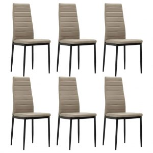 vidaXL Dining Chairs 6 pcs Cappuccino Faux Leather
