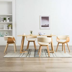 vidaXL Dining Chairs 4 pcs Cream Bent Wood and Faux Leather