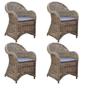 vidaXL Outdoor Chairs 4 pcs with Cushions Natural Rattan
