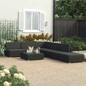 vidaXL 6 Piece Garden Lounge Set Black with Cushions Poly Rattan