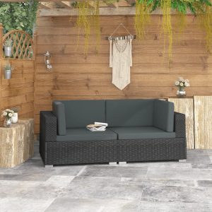 vidaXL Sectional Corner Chairs 2 pcs with Cushions Poly Rattan Black