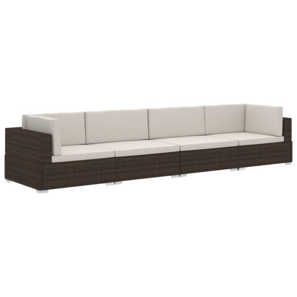 4 Piece Garden Sofa Set with Cushions Poly Rattan Brown