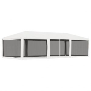 vidaXL Party Tent with 4 Mesh Sidewalls 4×9 m White