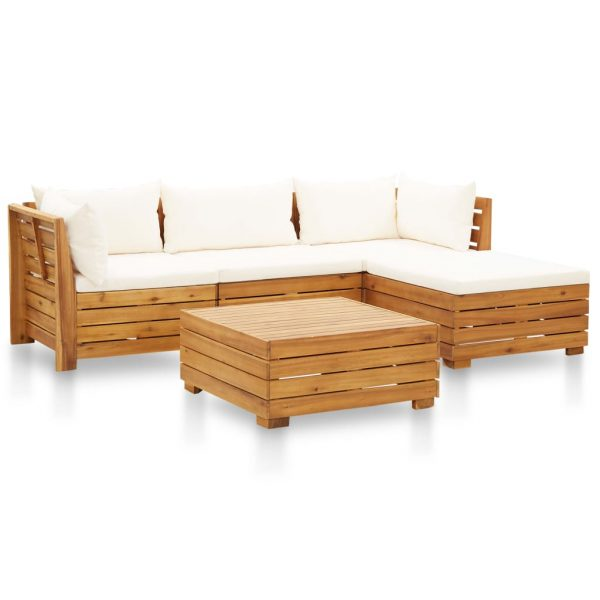 vidaXL 5 Piece Garden Lounge Set with Cushions Acacia Wood Cream White