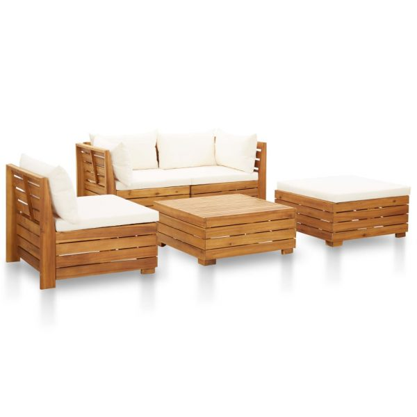 5 Piece Garden Lounge Set with Cushions Acacia Wood Cream White
