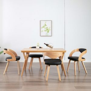 vidaXL Dining Chairs 4 pcs Black Bent Wood and Faux Leather